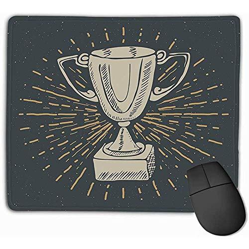 Aangepaste muis Pad,30X25CM Unieke Printed Mouse Mat Ontwerp Vintage Label Handgetekende Sport Trofee Winnaars Prijs Grunge Getextureerde Retro Badge Typografie Print illust