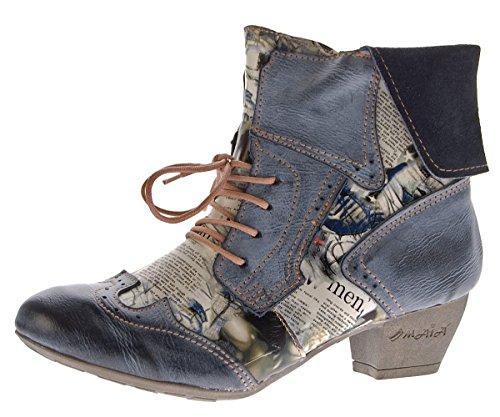 TMA Damen Stiefeletten Echtleder Comfort Boots Leder Halb Schuhe TMA 6188 Schwarz Gr. 40