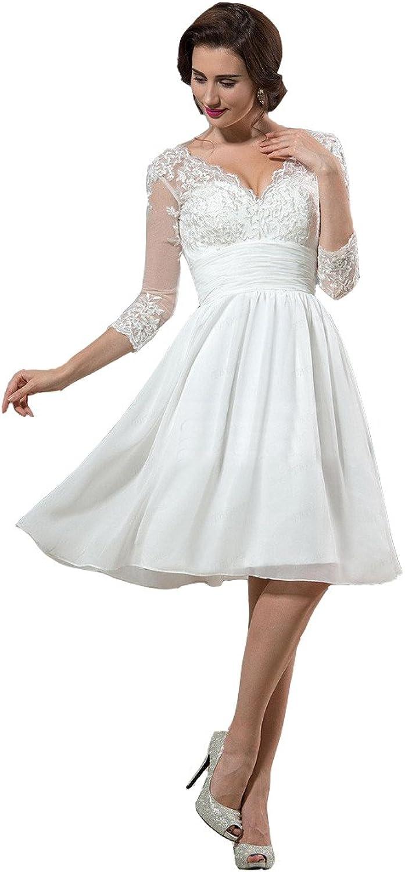 Irenwedding Women's V Neck Applique Lace Short Sleeves Knee Length Wedding Dress
