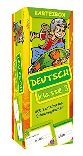 Karteibox Deutsch Klasse 3: mit farbigen Karteikarten