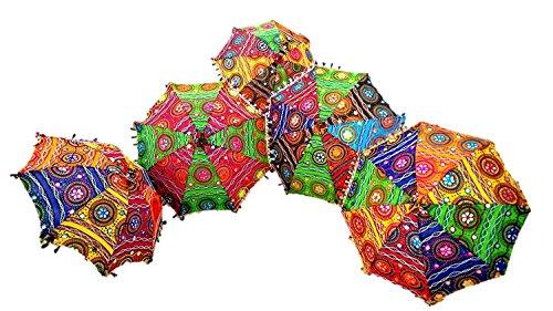 GANESHAM HANDICRAFTS - Decoración india hecha a mano decorativa de algodón con espejo bordado, protección UV, paraguas de sol, sombrilla bohemia, paraguas de boda, paraguas de playa, 5 piezas