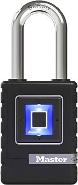Master Lock 4901DLH Fingerprint Lock Heavy Duty Outdoor Biometric Padlock, Black