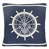 Grafelstein Kissenhülle Ship's Wheel blau weiß maritim Kissen Steuerrad Long Island