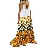 Vestido de Tirantes con Estampado de Flores/Lunares para Mujer Vestido Largo Bohemio