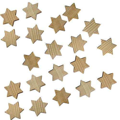 trendmarkt24 Holzsterne aus Buche 19 x 19 x 3 mm klein | 20 Stück Naturholzsterne zum Basteln und Dekorieren Rohling Streudeko Holzstern 401319-A