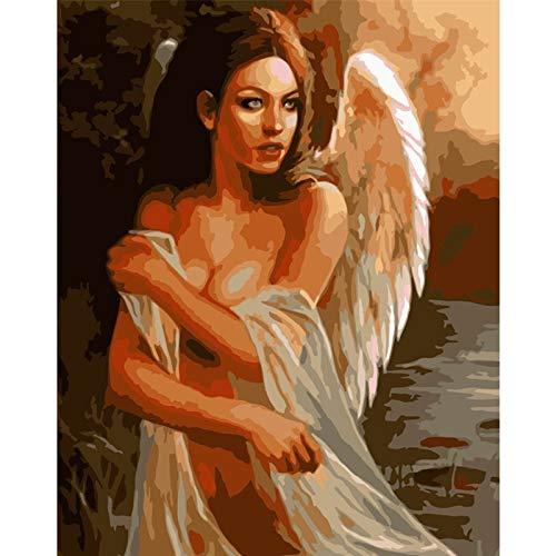 Puymnf Malen nach Zahlen DIY Dropshipping Mode sexy schönen Engel Figur Leinwand Hochzeit Dekoration Kunst Bild Geschenk