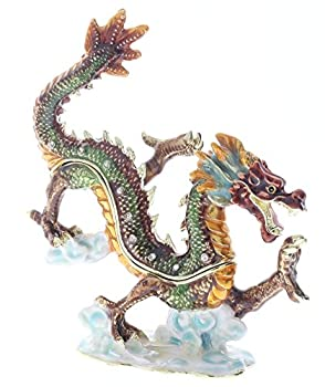 Asian Dragon Trinket Box Hand Set Clear Swarovski Crystal Hand Painted Colorful Enamel Over Solid Pewter Base Inside of Box with Lovely Enamel Comes in Beautiful Gift Box L 4.50 X H 4.75 X W 2.00