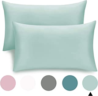 CHHKON Set of 2 Bamboo Pillowcases Breathable Cool Ultra Soft Pillow Cases (Light Green, 20''x26'')