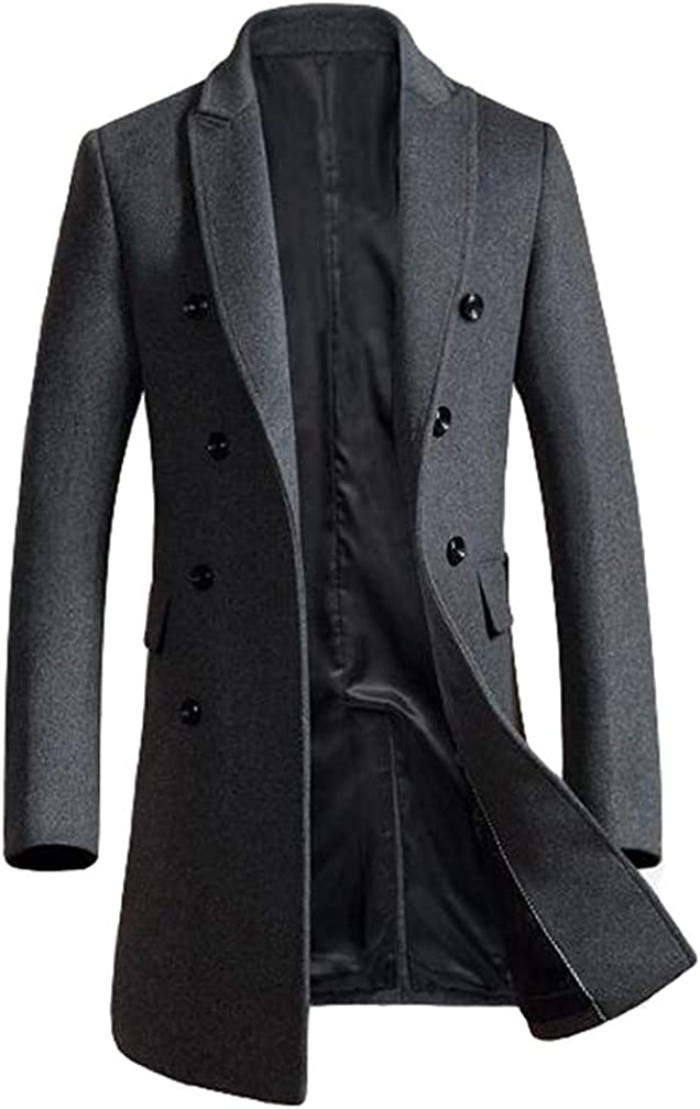 Lavnis Men's Woolen Pea Coat Slim Fit Double Breasted Winter Wool Trench Business Down Jacket