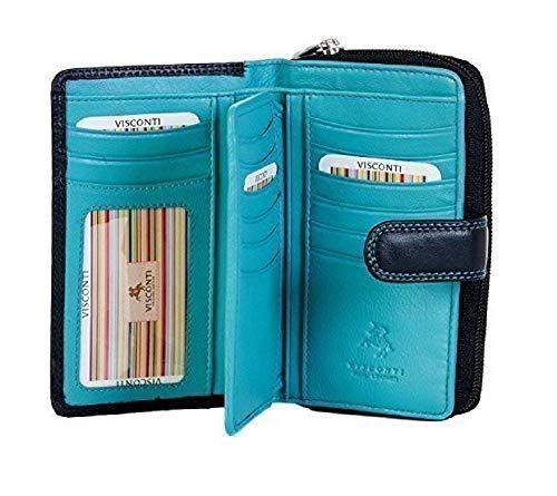 Visconti Colorado-Kollektion Damen-Geldbörse, weiches Leder mit RFID-Schutz CD22 Schwarz/Aqua