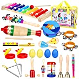 iBaseToy Toddler Instruments, Toddler Musical Instrument Set Kids Instruments for Kids Preschool Education, 16 Types 23pcs Musical Toys Set for Boys and Girls with Storage Bag
