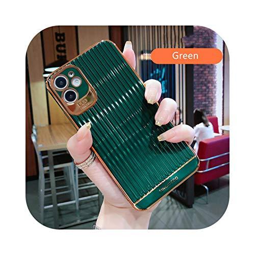 Carcasa de silicona galvanizada para iPhone 11 Pro 7 8 Plus chapado en oro para iPhone XS XR X SE 2020 12 Pro Cases-Verde Oscuro para 12 Pro Max
