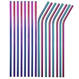 Reusable Metal Rainbow Straws 100 Pieces,8.5''10.5'' Stainless Steel Straws for 20oz 30oz Tumbler Yeti Cup,6mm Diameter Drinking Straws Bulk For Wholesale(50 Straight+50 Bent) (100pcs Rainbow-8.5')