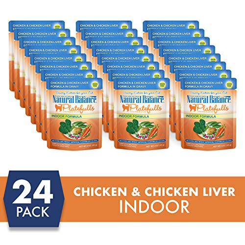 Natural Balance Platefulls Indoor Chicken & Chicken Liver Formula in Gravy Wet Cat Food, 3 Ounces (Pack of 24)