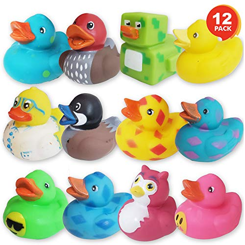 ArtCreativity Assorted Rubber Duckies for Kids and Toddlers - Pack of 12 Cute Duck Bath Tub Pool Toys in Multiple Characters, Fun Carnival Supplies, Birthday Party Favors for Boys and Girls