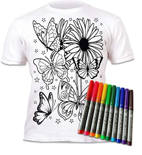 Splat Planet Camiseta de colores con mariposas y flores con 10 bolígrafos mágicos no tóxicos lavables – Camiseta de color y lavado