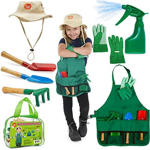 Born Toys Ensemble de Jardinage pour Enfants, Outils de Jardinage pour Enfants avec râteau, Gants de Jardinage pour Enfants et Ensemble de Tabliers lavables pour de Vrai