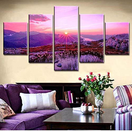 Decoratieve woonkamer modulaire foto kunst schilderij 5 planken rode zonsopgang sneeuw berg spiegel muur hd gedrukte canvas poster huis