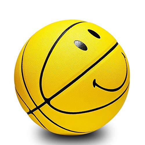 SHENGY Smiley-Basketball Nr. 5 Und Nr. 7, PU-Leder Verschleißfest, Guter Griff. Für Indoor- Und Outdoor-Training Und Wettkämpfe Kinder (Gelb),7