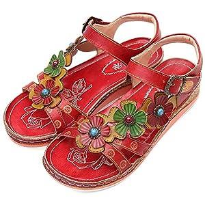 Camfosy - Sandalias Planas de Cuero para Mujer, Plataforma de cuña Baja de Verano para Mujer, Ajustable, con Velcro… | DeHippies.com