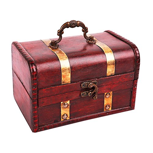 WaaHome Pirate Treasure Chest Wood Treasure Boxes Keepsake Box For Kids Girls (7
