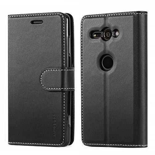 Mulbess Coque pour Sony Xperia XZ2 Compact, Etui Sony Xperia XZ2 Compact Cuir avec Magnetique, Business Housse Protection pour Sony Xperia XZ2 Compact Case, Noir