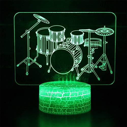 Drum 3D Illusion Light/Veilleuse à LED, Décoloration 7, touche/Télécommande, Décoration Music Hall, cadeau pour enfants, lumière de sculpture d'art et câble USB