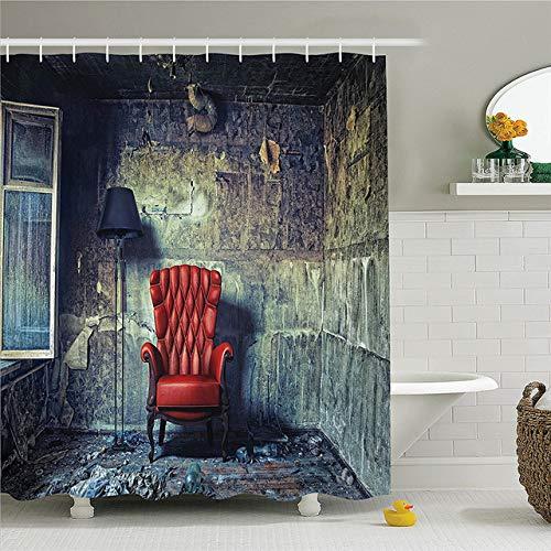 CHENHAO Cortina de Ducha Lavable Conjunto Vintage decoración Antigua por sillón lámpara de pie en Grunge habitación Interior abandonada Impermeable 200x200cm