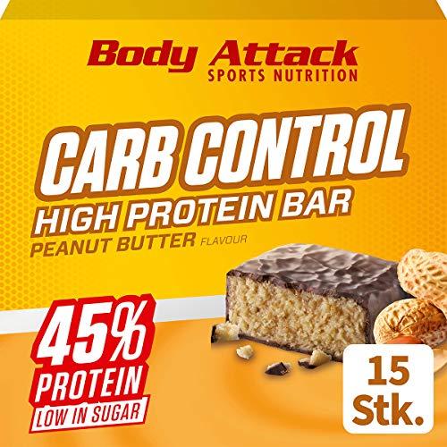 Body Attack Carb Control, Proteinriegel ohne Zuckerzusatz, Low Carb – High Protein, Eiweißriegel mit Whey, auch in der Mix-Box (Peanut Butter, 15 x 100g)