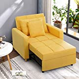 Esright Sofa Bed 3-in-1 Convertible Chair Multi-Functional Adjustable Recliner, Sofa, Bed, Modern Linen Fabric, Yellow
