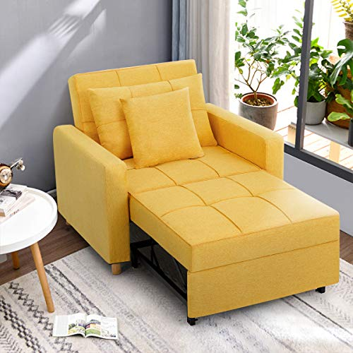 Esright Convertible Chair Bed 3-in-1, Sleeper Chair Bed, Multi-Functional Adjustable Recliner, Sofa, Bed, Single Bed Chair with Modern Linen Fabric, Yellow