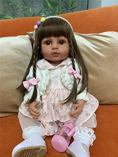 Anano 22in/55cm Real Reborn Dolls Full Body Silicone Baby Doll for Girls Realistic Looking Safety Tested(Tan Skin)