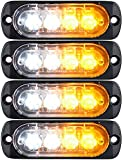 LED Emergency Strobe Lights Bar DIBMS 4x Amber White 4 LED Strobe Warning Emergency Flashing Light Caution Construction Hazard Light Bar For Car Truck Van Off Road Vehicle ATV SUV Surface Mount