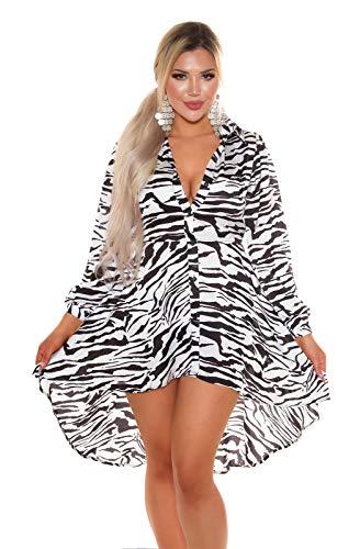 Koucla High-Low Damen Kleid Party Seidenlook Minikleid (Zebra, M)