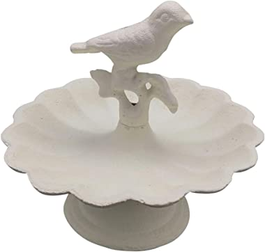 Comfy Hour Solid Pedestal Bird Bath/Feeder with Decorative Bird, Metal, Heavy Duty, White, Recycled, Decorative Gift Idea