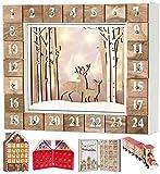 Brubaker Wiederverwendbarer Adventskalender aus Holz zum Befüllen - Weiße Winterlandschaft mit LED Beleuchtung - DIY Weihnachtskalender 35.5 x 6 x 27 cm