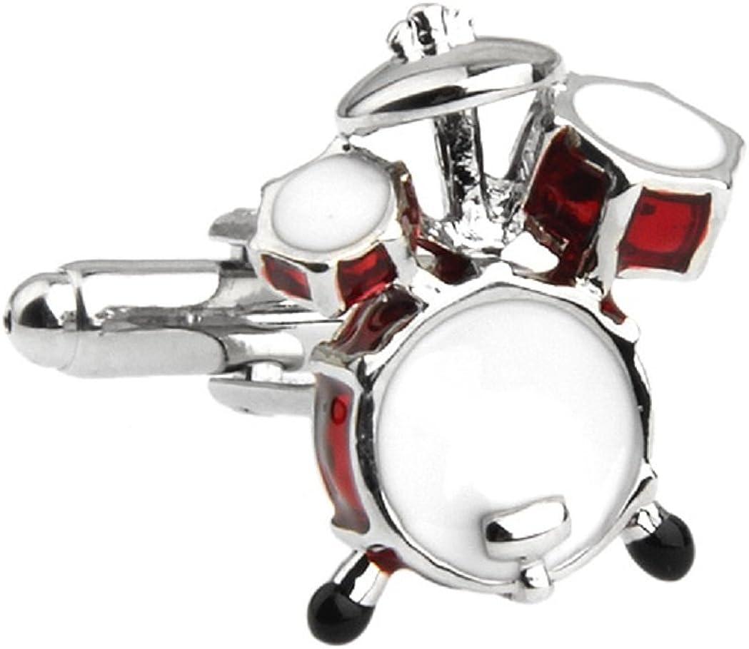 MRCUFF Drum Set Red Drummer Pair Cufflinks in a Presentation Gift Box & Polishing Cloth