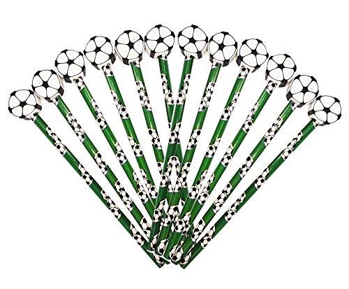 12 x Fußball HB Bleistifte mit großem Radiergummi in Kugelform Ideales Partytütenfüller, Geschenk zum Abschluss, für Studenten oder Strumpffüller