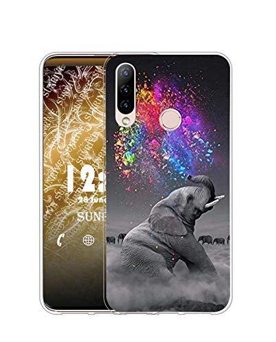 Sunrive Funda Compatible con Honor 20 Lite, Silicona Slim Fit Gel Transparente Carcasa Case Bumper de Impactos y Anti-Arañazos Espalda Cover(Q Elefante 2)