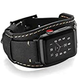 Coobes Compatible with Apple Watch Band 40mm 38mm Men Women Genuine Leather Compatible iWatch Bracelet Wristband Crazy Horse Cuff Strap Compatible Apple Watch Series 6/5/4/3/2/1 SE(Black, 40/38 mm)