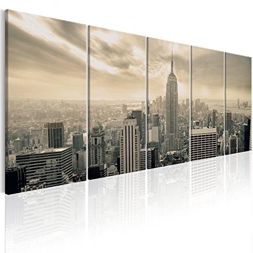 murando Cuadro en Lienzo en Lienzo Nueva York 100x40 cm Impresión de 5 Piezas Material Tejido no Tejido Impresión Artística Imagen Gráfica Decoracion de Pared Paisaje New York NYC Ciudad d-B-0081-b-o