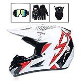 Kind Motocross Helm Blau Weiß Rot, Full Face Motorrad Helm Motorrad Helm Kreuz Mit Brille...