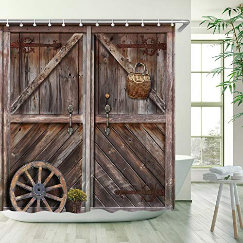 Stacy Fay Wooden Barn Door Shower Curtain, Rustic Fabric Bathroom Curtains Set with Hooks Brown Old Garage Door Country Farmhouse Style Artwork Bathroom Decor 72x72 Inches Machine Washable