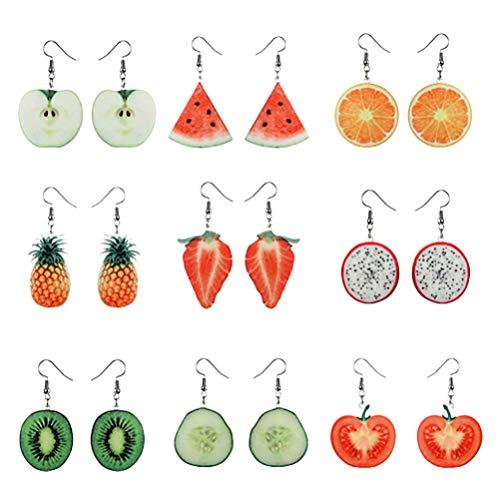Amosfun 9 pares de aretes para niñas pendientes con forma de fruta elegantes aretes de aleación de joyería para niñas