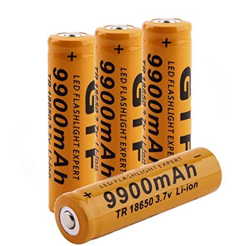 18650 Batterie 3.7V 9900Mah 18650 Ladegerät Hochleistungs Akku Wiederaufladbare Li-Ionen-BatterieButton Top Battery Pour für LED-Fernbedienung Elektronische Geräte Spielzeug Digitalkameras(Orange)