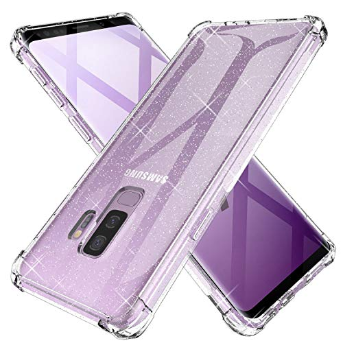 KIOMY Clear Glitter Case for Samsung Galaxy S9 Plus, Girls Women Bling Sparkle Shiny Luxury Cases with 4 Corners, Shockproof Bumper Protective Cell Phone Back Cover Slim Fit Flexible Shining Fashion
