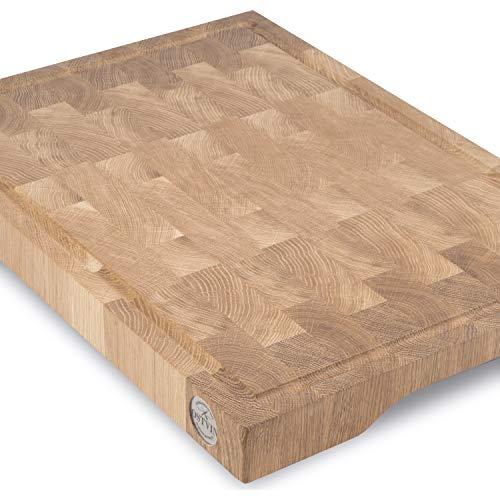 Eichenholz Schneidebrett Hirnholz 50x35x5cm, mit anti-rutsch-Füßen, Saftrille und Griffmulde, xxl Küchenbrett aus Stirnholz Eichenbrett Schneidbrett made in Austria