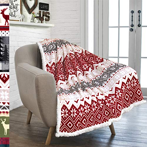 PAVILIA Premium Christmas Sherpa Throw Blanket | Christmas Decoration, Fleece, Plush, Warm, Cozy Reversible Microfiber Holiday Blanket 50 x 60