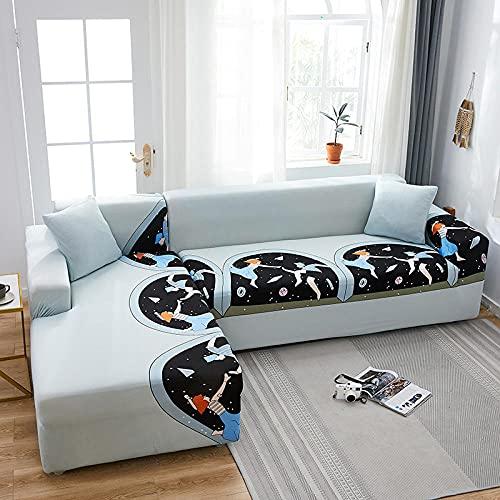 Funda Sofas 2 y 3 Plazas Chica del Espacio Fundas para Sofa con Diseño Elegante Universal,Cubre Sofa ,Fundas Sofa Elasticas,Funda de Sofa Chaise Longue,Protector Cubierta para Sofá