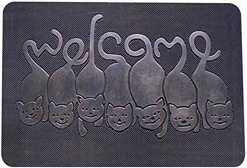 COMAJUMATO Alfombra antideslizante con efecto 5D, para puerta de entrada, 4575 cm, gato de bronce